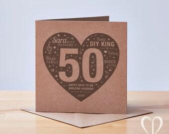 Personalised 50th Birthday Card, Happy 50th Birthday Card, 50th Birthday Card, Custom 50th Birthday Card, Special 50th Birthday Card, 50