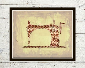 Vintage Sewing Machine - Sewing, Sewing Art, Sewing Wall Art, Burlap Background, Tan and Brown, Seamstress, Sewing Machine Art, Wall Art
