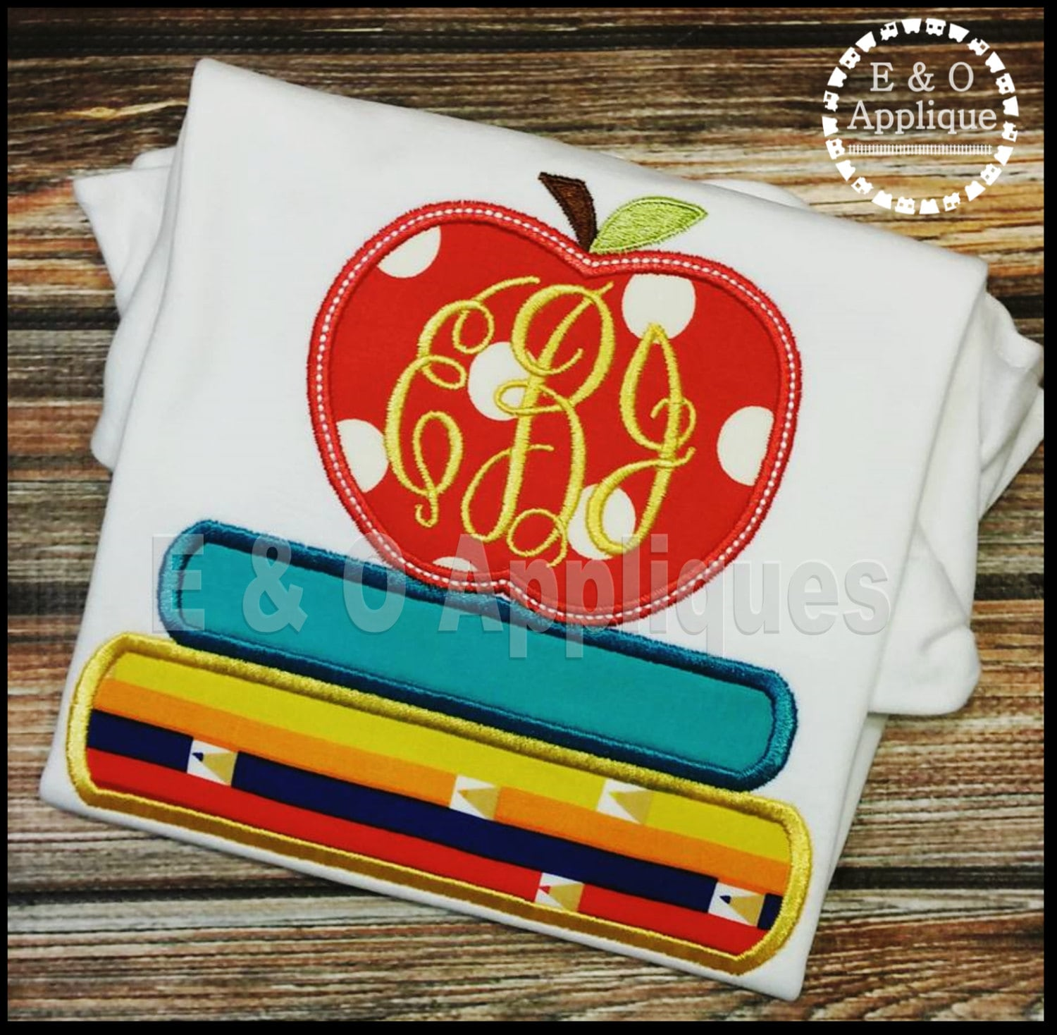 Books and apple applique back to school applique apple for Apple design book