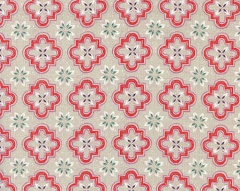 Cotton Fabric by the yard - Cotton and Steel Fabric - Modern quilt fabric - Porch Tile Coral - Clearance fabric