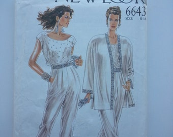 Summer suit/ Summer wedding / pleated dress pants / vintage 1990s sewing pattern, Size 8 10 12 14 16 18, Bust 31, 32 34 36 38, New Look 6643