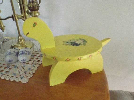 Vintage Kids Turtle Step Stool Handmade Decor Child