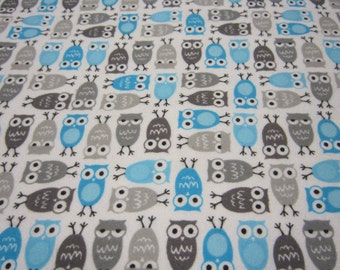 Little Turquoise and Gray Owls Called Urban Zoologie Minis by Anne Kelle for Robert Kaufman Fabrics