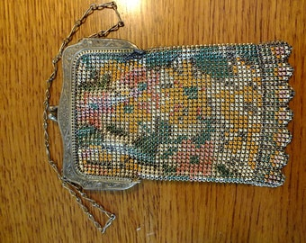 Whiting & Davis Metal Mesh Purse with Flowers