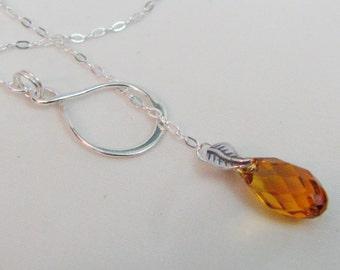 Topaz Lariat Necklace in Sterling Silver, Swarovski Crystal Jewelry, Yellow Topaz, Crystal Infinity Necklace, November Birthstone Gift