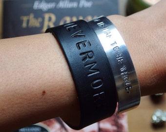 Nevermore Leather Bracelet - Edgar Allan Poe