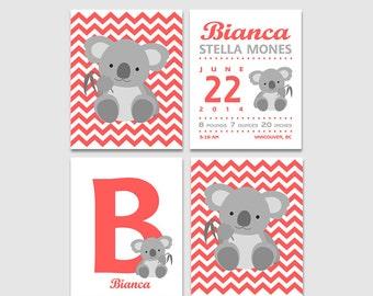 Koala baby girl nursery art print -UNFRAMED- baby girl wall art, chevron, koala, letter B, Bianca, chevron, birth announcement, initial