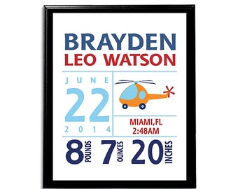 Navy and red helicopter birth announcement art print -UNFRAMED- baby boy wall art, birth stats artwork, transportation wall art, orange