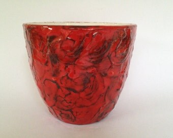 RRK. Rhein Ruhr keramik vintage Mid Century red planter   from the 1960s /1970s West Germany