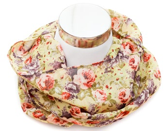 Loop Scarf Light Weight Scarf Flower Scarf Cirlce Chiffon Scarf Women Scarf