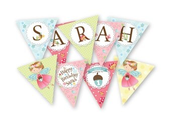 Fairy Bunting, Garland, Banner, Customized Printable DIY, Girl's Birthday Party