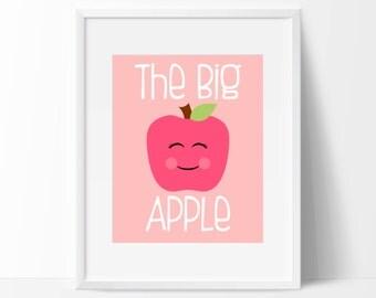 "Big Apple Kawaii Print - 8"" x 10"" Nursery Print - Kawaii New York Print - Instant Download"