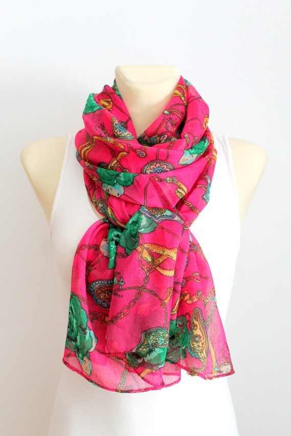 Scarf with Roses - Pink Floral Scarf - Floral Printed Scarf - Floral Fabric Scarf - Boho Scarf - Women Fashion Accessories - Gift Idea