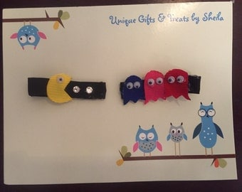 Pac Man hair clips
