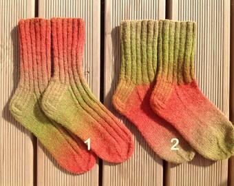 Wool socks Boot socks Hand knit socks Handmade knitted slippers Unique dyed wool socks Leg warmers Size: 37/38EUR; 4-5UK; 6-7US