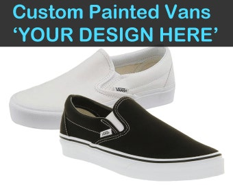 Custom Vans Painted Shoes Choose Your Design Hand Painted Vans Shoes Customizable Flats Canvas Slip Ons Charcoal Black Navy Unisex Footwear