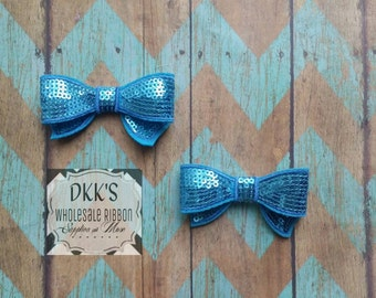 2 Turquoise Sequin Applique Bows- Going Out Of business- Wholesale/Turquoise/2.8 inches