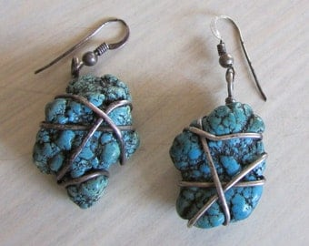 Faux Turquoise Nugget with Silver Wire Wrap Dangle Earrings