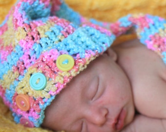 Multi-colored or ivory newborn long tailed hat photo prop
