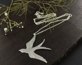 Swallow necklace - Lucky necklace - Handmade - Sterling silver necklace.