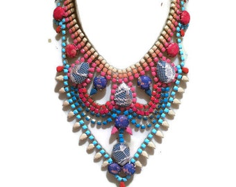 ON THE PIER blue, apricot, orange & red painted rhinestone bib necklace