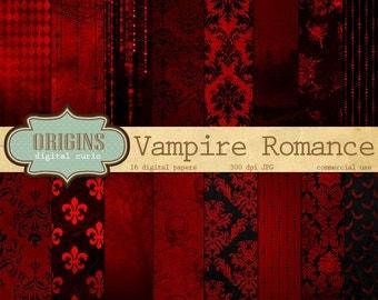 Vampire Digital Paper, Halloween Digital Paper, Halloween Backgrounds Black and Red Damask Rose scrapbook paper pack Gothic Victorian Grunge