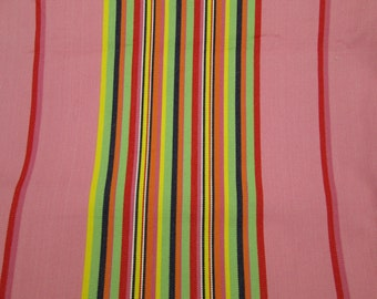 Vintage pink cotton canvas fabric with candy color stripes 3 yards 50 inches wide