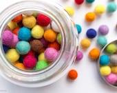 1cm Wool Felt Ball x 100 Multicolour. 10mm Felt Balls Mixed Colour. Wool. Pom Pom. Gumball. Beads. Wholesale. Bulk. Craft. Decoration. DIY.