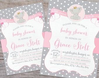 Little Peanut Elephant Baby Shower Invitation with Free Shipping or DIY Printable