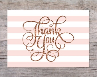 Glitter and Pink Instant Download Printable Thank You Cards PDF