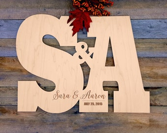 Wood Engraved Wedding Monogram Initials for Guest Book Alternative Sign Letters