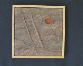 "Wool Felted Sculptural Wall Art, Framed, 13"" x 13"" Overall Size (SC13)"