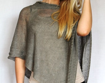 Two ponchos, 2 linen poncho Pure Linen Pancho Cape Gray wrap cape gray Scarf Knit Shawl Modern Clothing Accessories