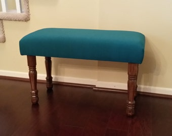 Upholstered Bench - Teal Fabric