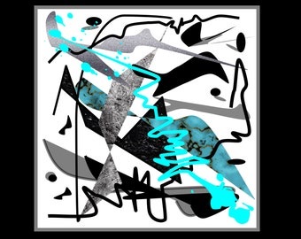 "Printable Abstract artwork ""Splashes on white"" 24"" x 24"" in."