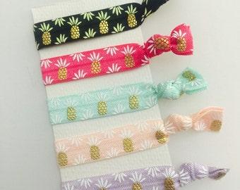 Pinneapple pastel hair ties set