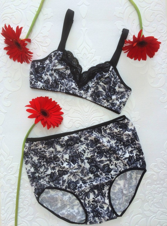 Iberis' Bralette and High Waist Knickers Modern Vintage Pin Up Retro Jersey Handmade