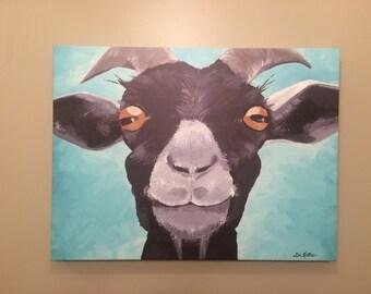 Goat canvas art print, goat decor.  Goat print, Goat art on canvas, goat prints, Canvas goat print from original canvas painting, farmhouse