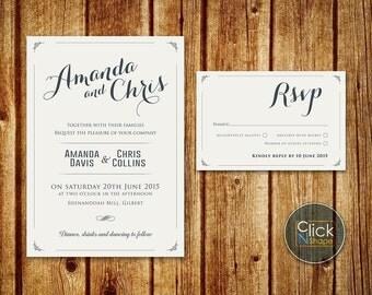 Wedding Invitation Set // Catholic Wedding // Modern Classic Wedding Invitation // RSVP card // Printable Wedding set