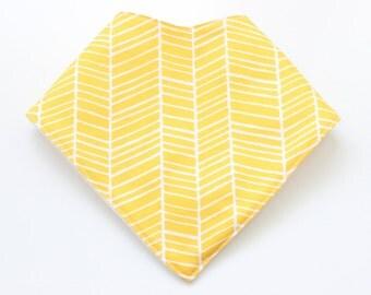 Baby Bandana Bib ~ yellow herringbone