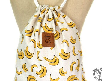 Banana drawstring bag Canvas Cotton  Backpack Hip bag Laptop bag Handmade bag