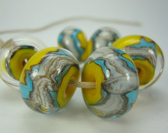 Handmade Lampwork Beads. Silvered Ivory, Blue And Yellow. Encased Large Focal Beads. Six Beads Included. Bright Beads. Ready To Ship.