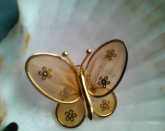 Gold Butterfly Brooch Includes Flowers on Wings