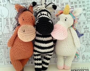 Amigurumi pattern x 3: Unicorn, Zebra and Horse (3 in 1)