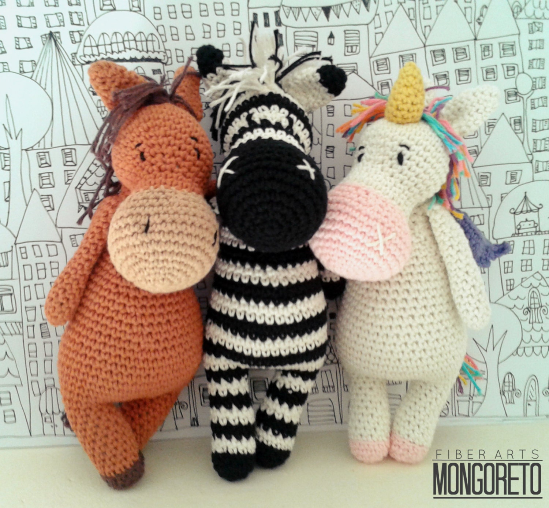 Amigurumi Zebra Crochet Pattern : Amigurumi patternx3: Unicorn Zebra and Horse 3 in 1