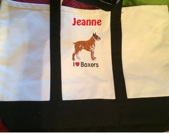 Monogrammed I (HEART) Boxer Embroidered Canvas Tote Beach Bag  Personalized