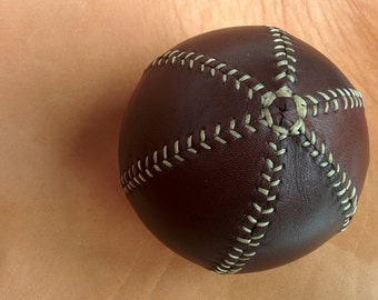 Leather bouncing ball, Leather ball, decorative leather ball, 10 cm diameter approx, Spanish chocolat oiled leather.