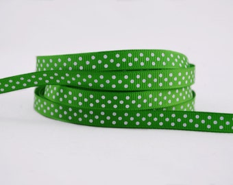 "3 yards of 3/8"" (10mm) Green with White Polka Dots Grosgrain Ribbon"