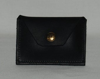 Handmade, Black oil tanned leather, Two pocket, Minimalist Wallet, Made in USA