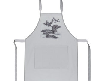 Loon Embroidered  double pocket Apron